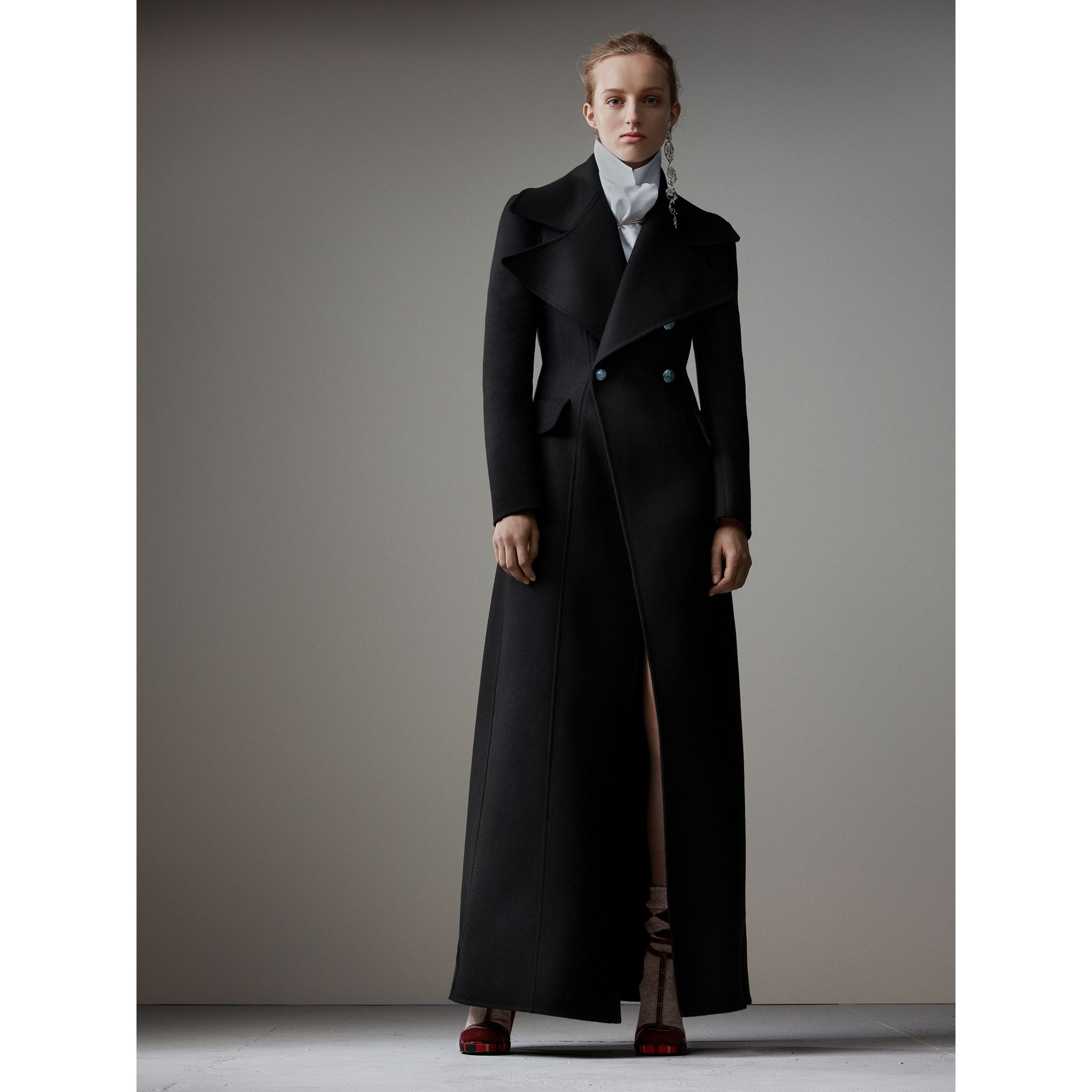 Felted Wool Full-length Tailored Coat in Black - Women | Burberry Singapore - gallery image 1