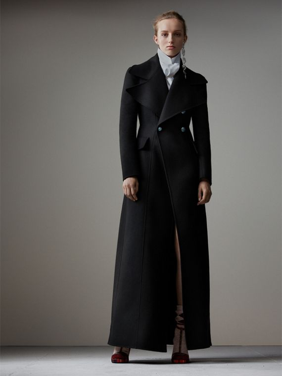 Felted Wool Full-length Tailored Coat in Black