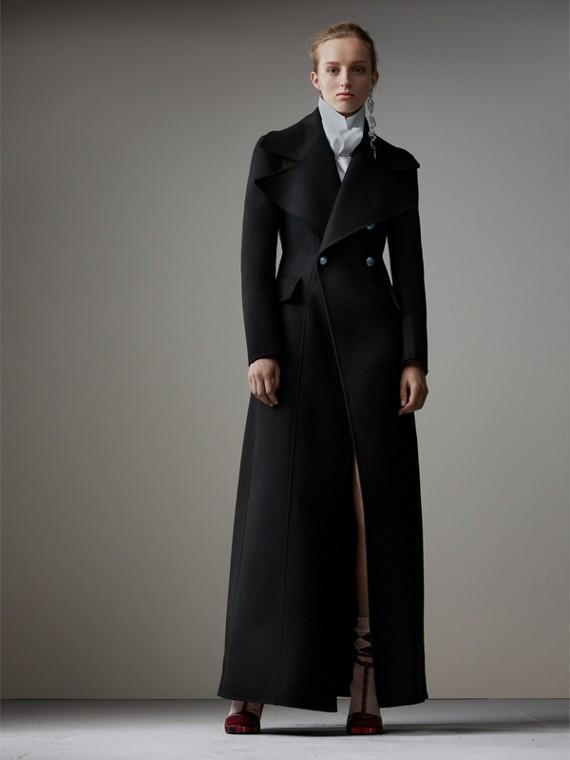 Классическое пальто макси из валяной шерсти (Черный)