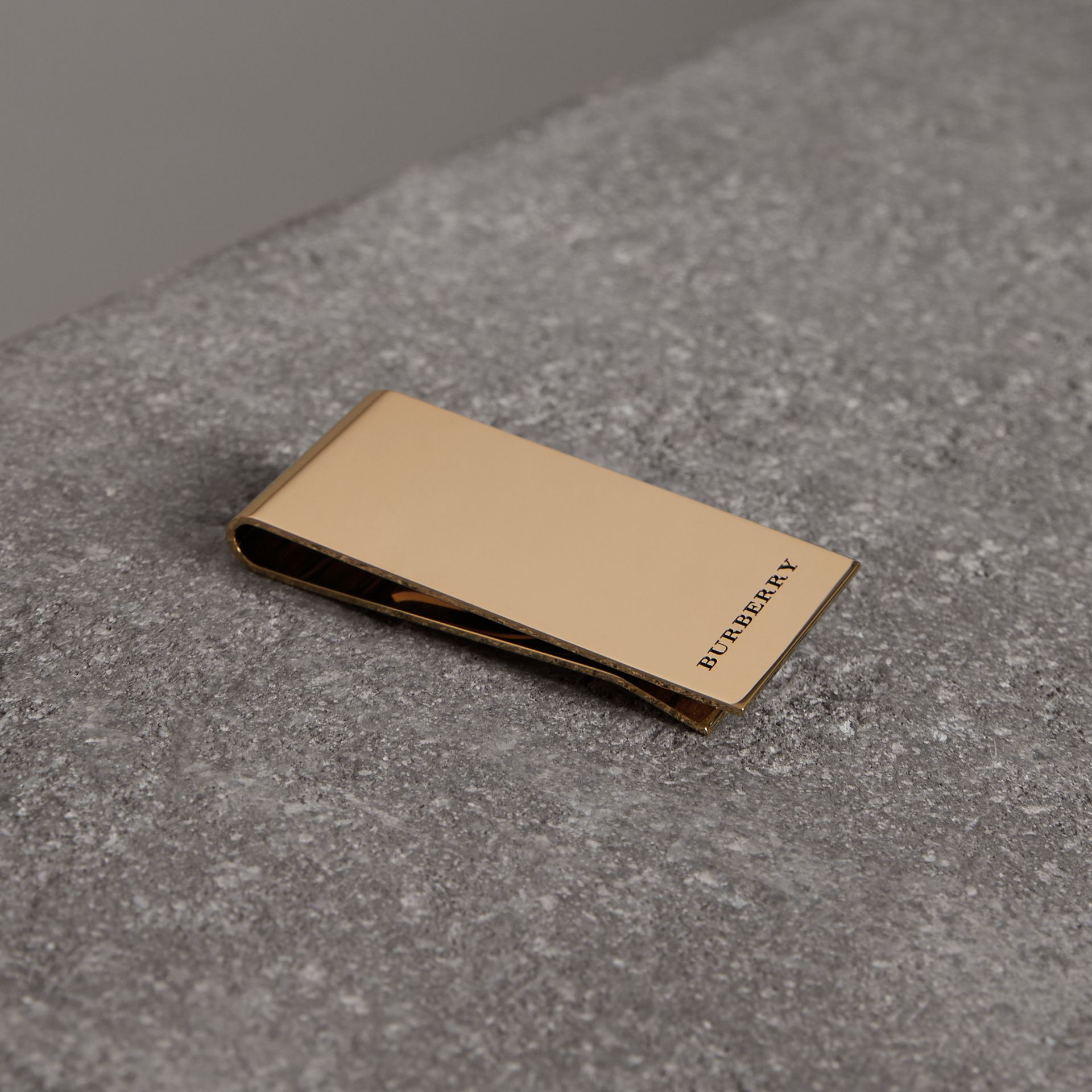 Engraved Bronze Money Clip in Light Gold - Men | Burberry - gallery image 0