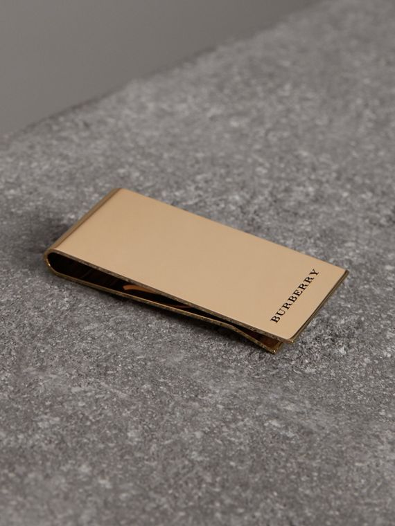 Engraved Bronze Money Clip in Light Gold