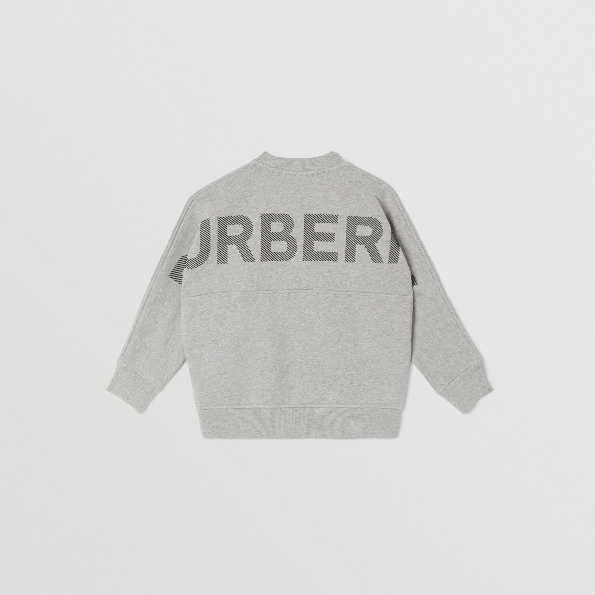 Logo Print Cotton Sweatshirt in Grey Melange/black   Burberry United States - gallery image 4