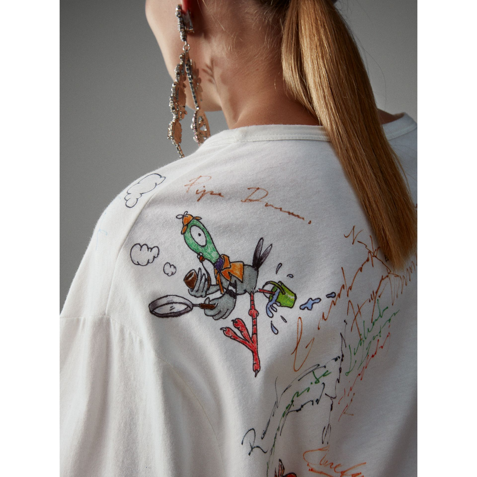 Long-sleeve Sketch Print Cotton Top in White - Women | Burberry - gallery image 1