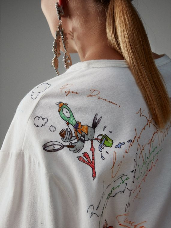 Long-sleeve Sketch Print Cotton Top in White