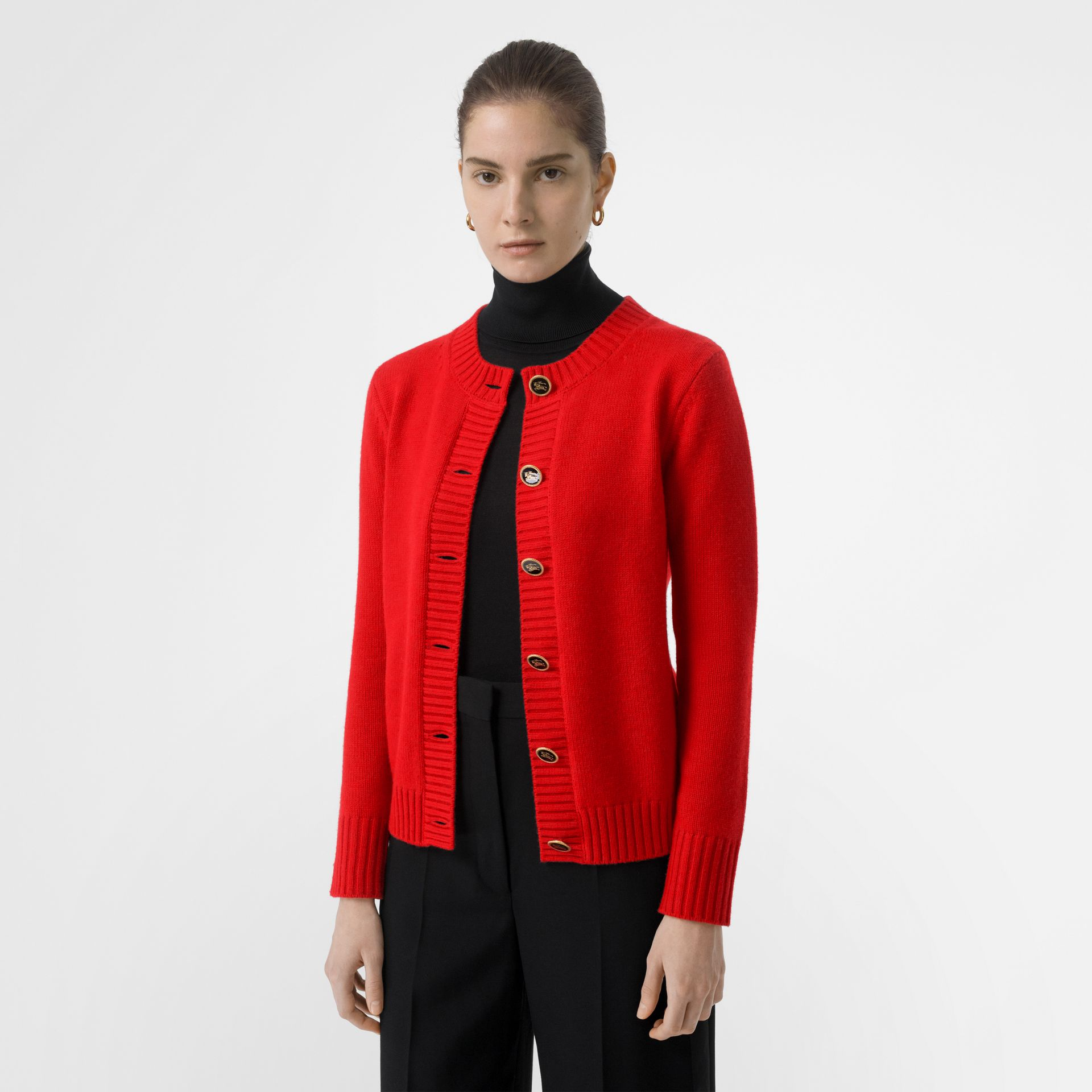 Logo Button Cashmere Crew Neck Cardigan in Bright Red - Women | Burberry Australia - gallery image 4