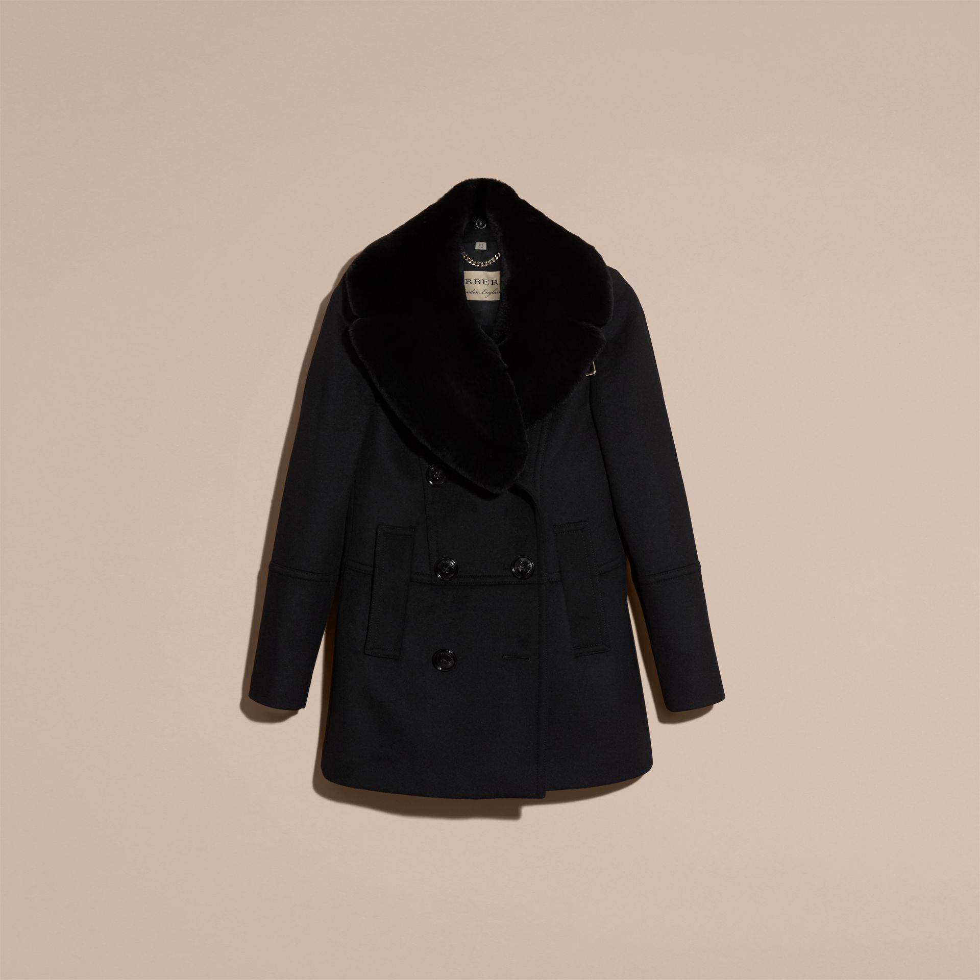 Nero Pea coat in lana e cashmere con collo amovibile in pelliccia - immagine della galleria 4