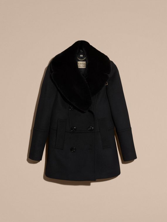 Black Wool Cashmere Pea Coat with Detachable Fur Collar - cell image 3