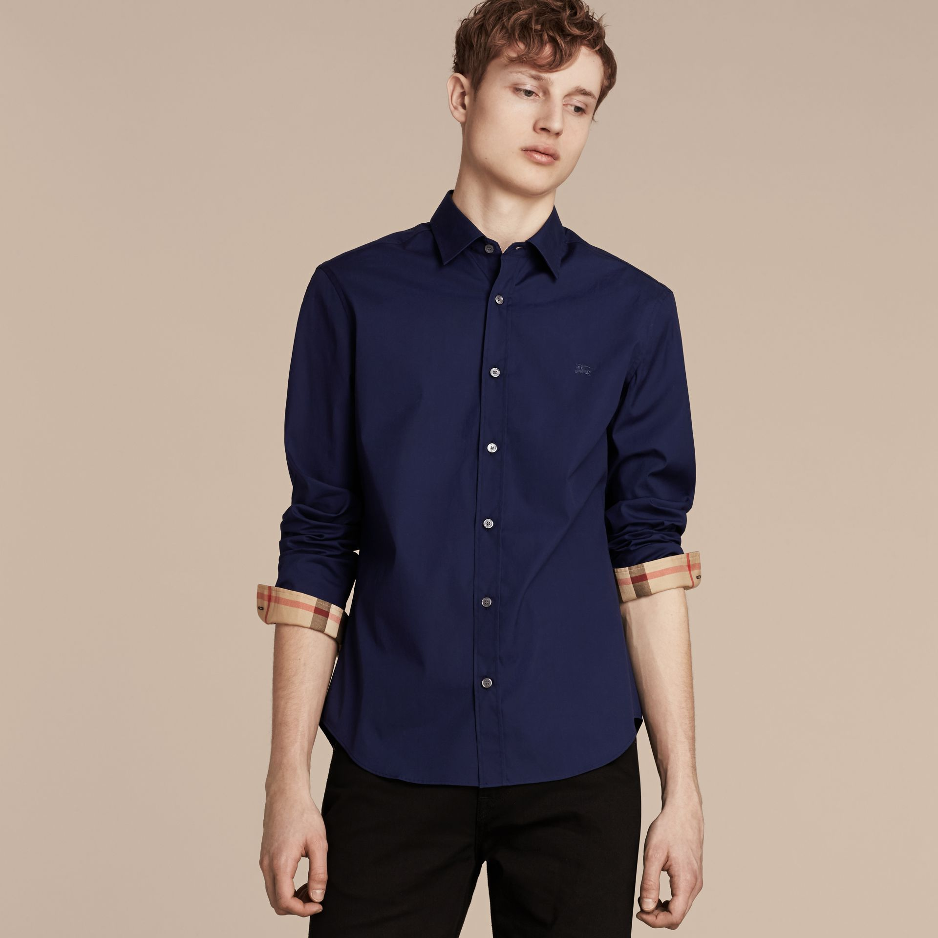 Indigo blue Check Detail Stretch Cotton Poplin Shirt Indigo Blue - gallery image 5