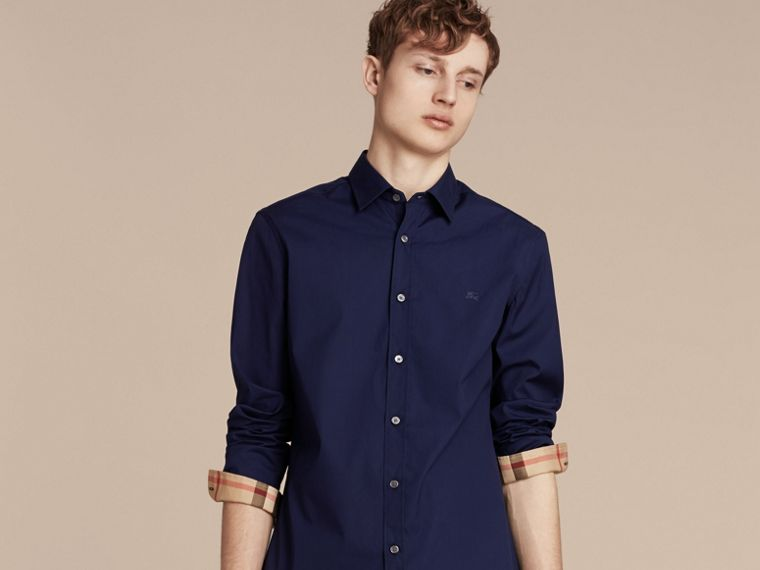 Indigo blue Check Detail Stretch Cotton Poplin Shirt Indigo Blue - cell image 4
