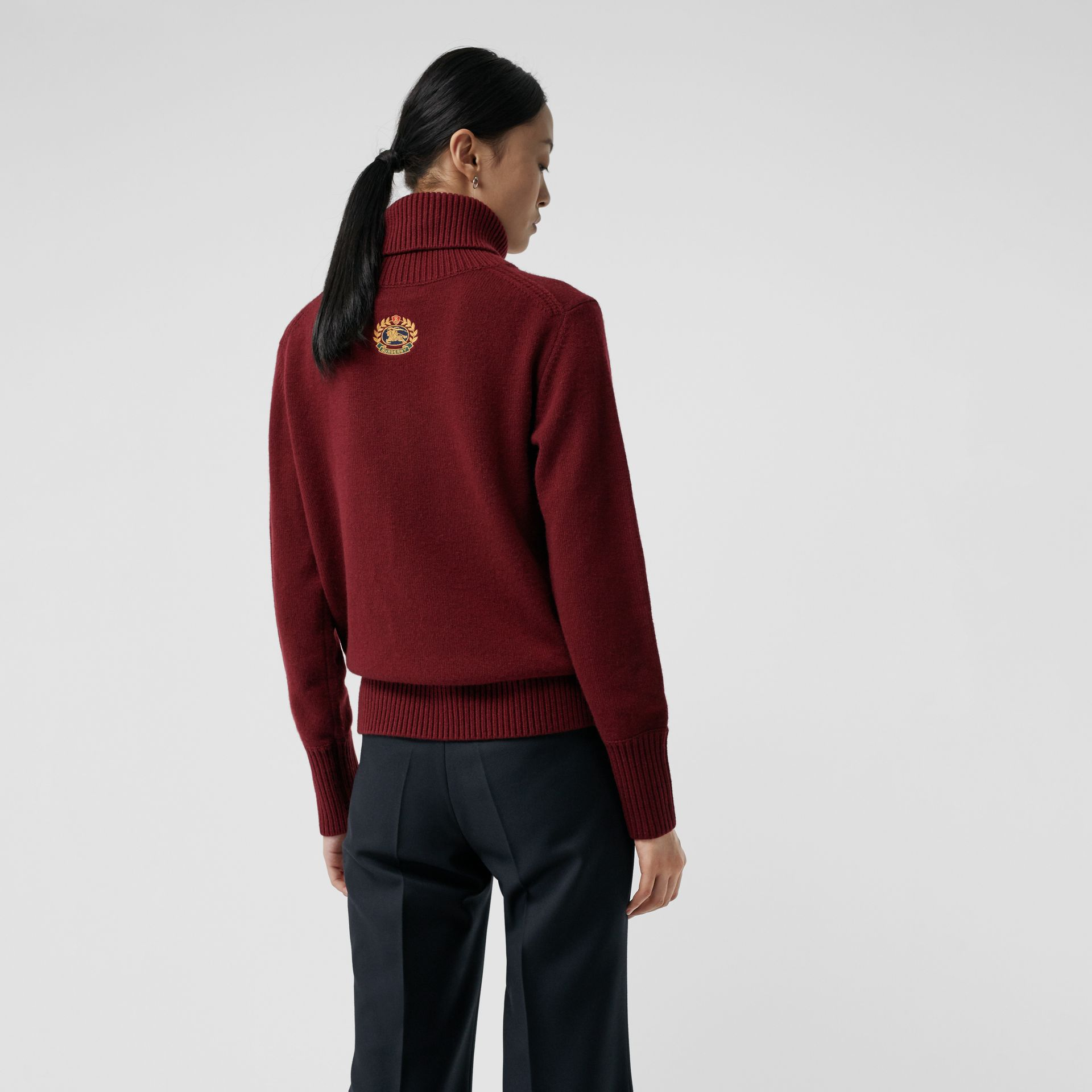 Embroidered Crest Cashmere Roll-neck Sweater in Red - Women | Burberry - gallery image 2