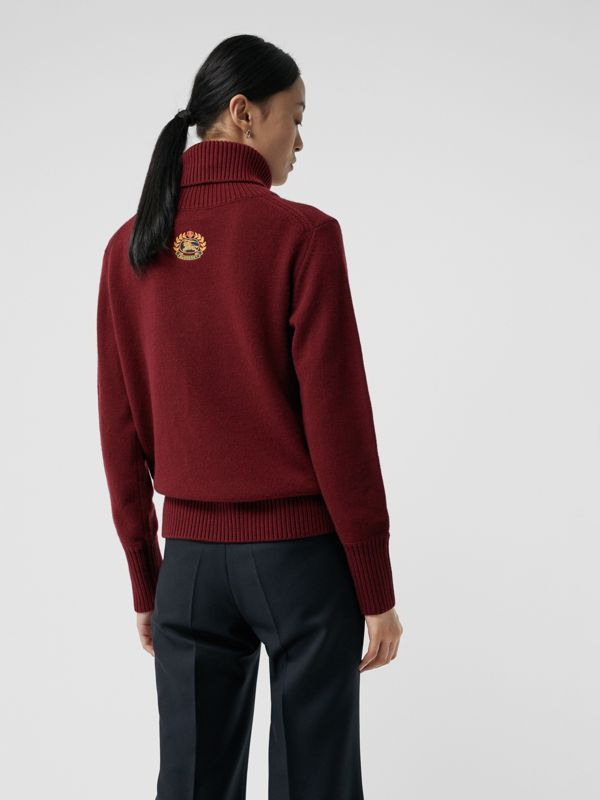 Embroidered Crest Cashmere Roll-neck Sweater in Red - Women | Burberry - cell image 2
