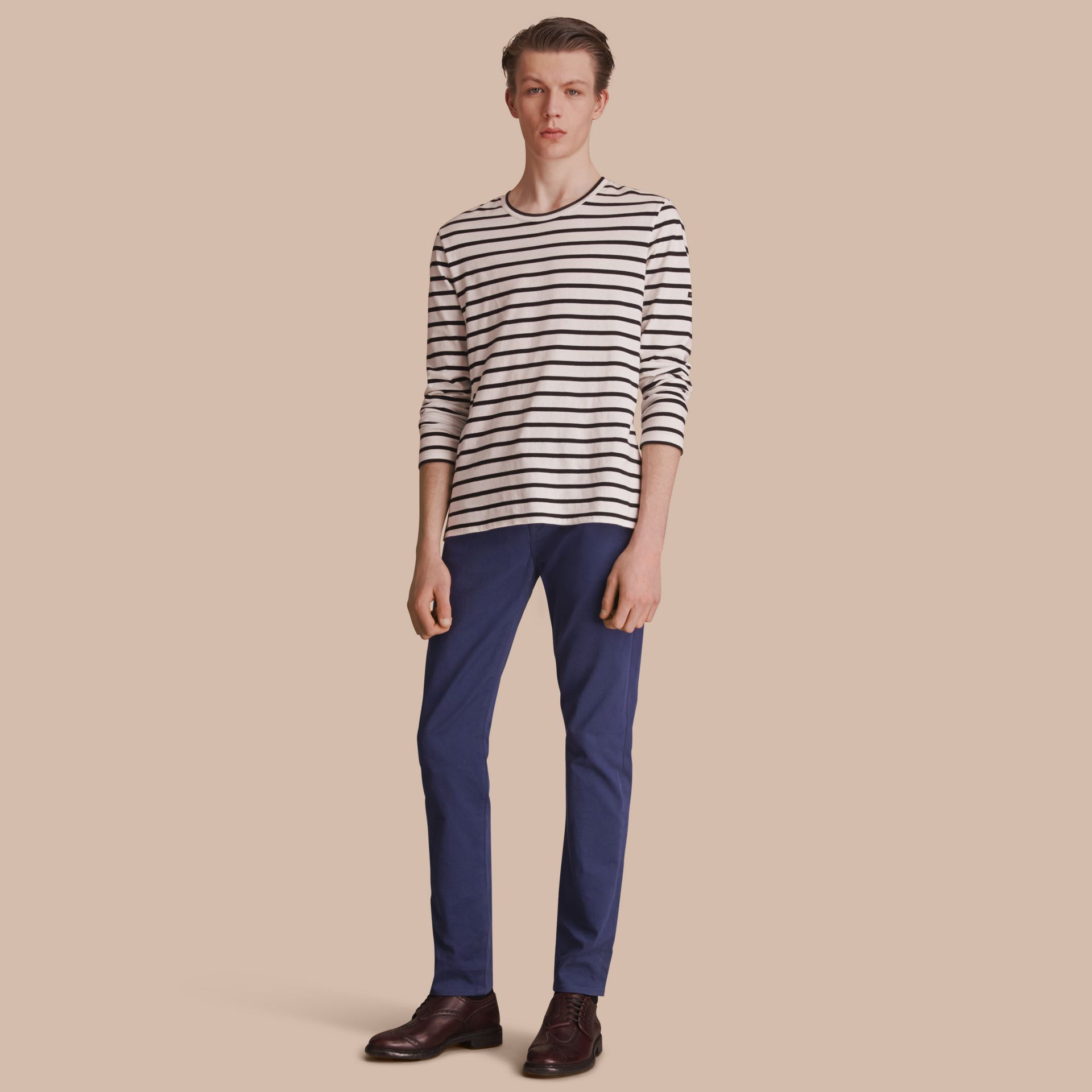 Slim Fit Stretch Japanese Denim in Bright Navy Blue - Men | Burberry - gallery image 0
