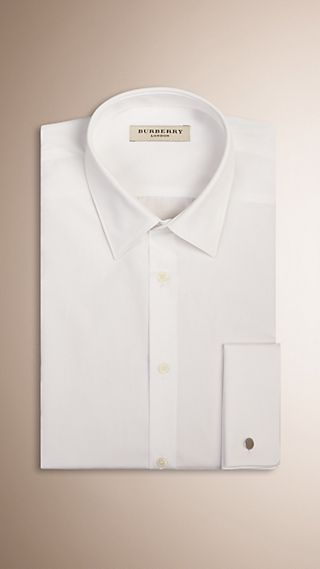 Slim Fit Double-cuff Cotton Poplin Shirt