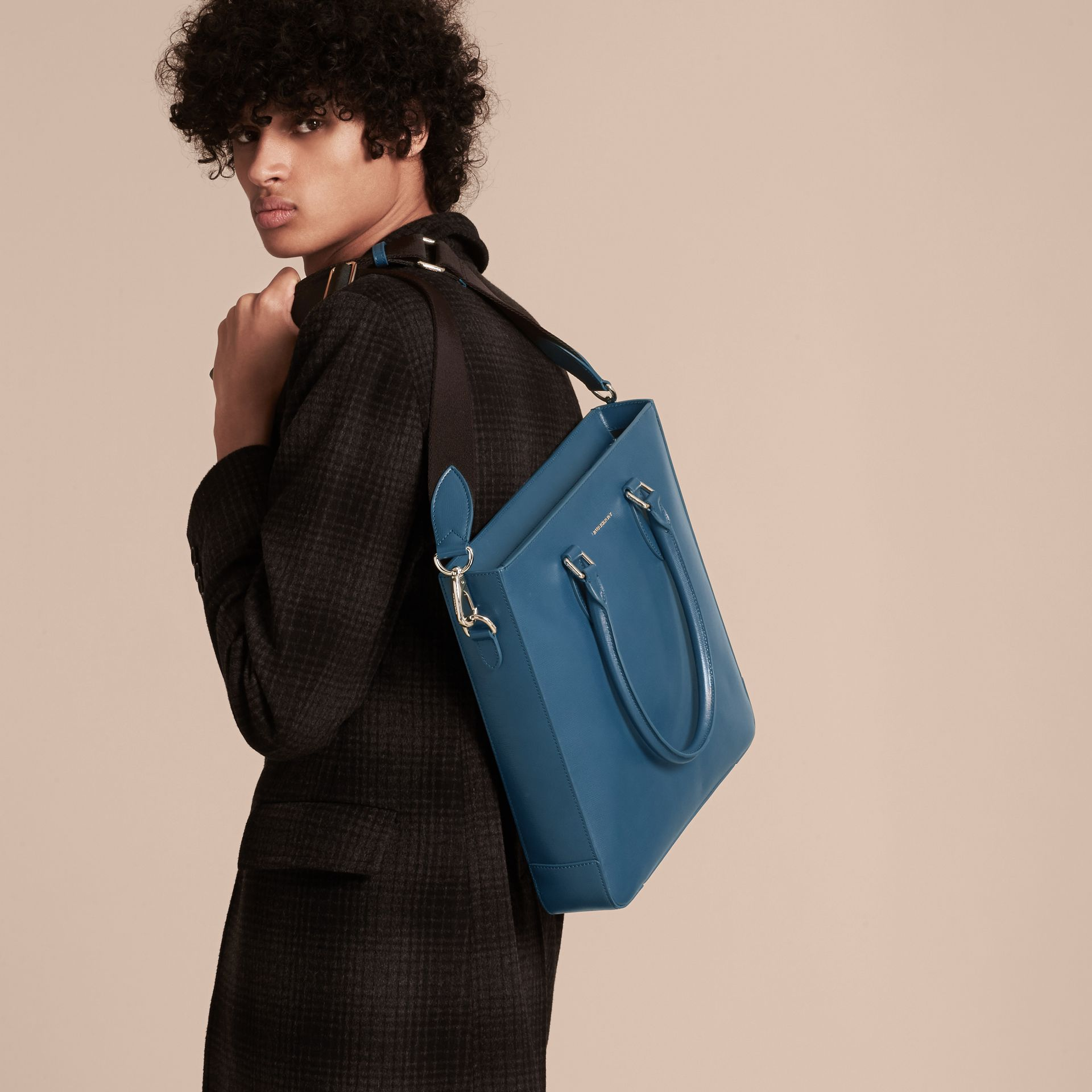 London Leather Tote Bag in Mineral Blue - Men | Burberry - gallery image 3
