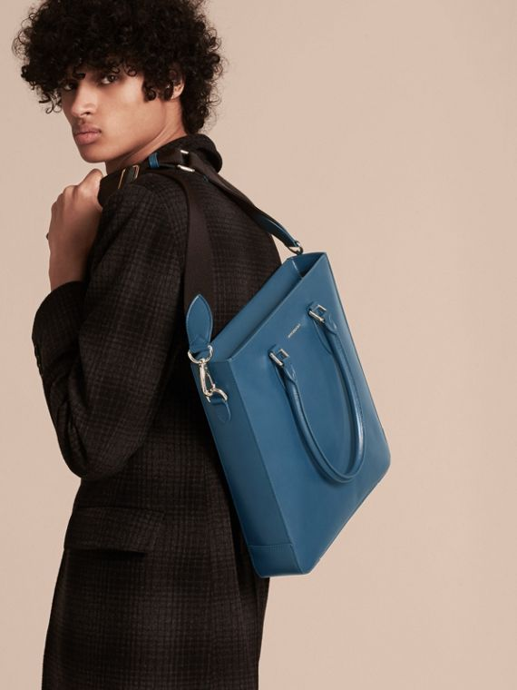 London Leather Tote Bag in Mineral Blue - Men | Burberry - cell image 2