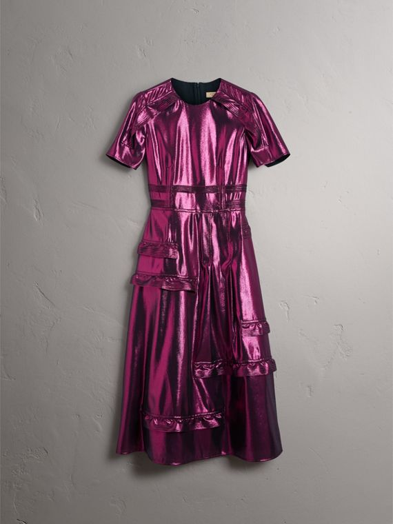 Short-sleeve Ruffle Detail Lamé Dress – Online Exclusive in Bright Fuchsia - Women | Burberry - cell image 3