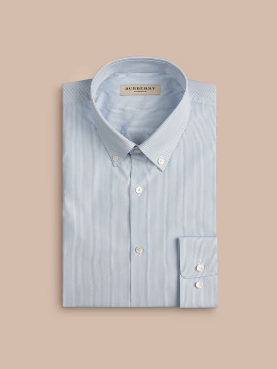 City blue Slim Fit Button-down Collar Striped Cotton Poplin Shirt - cell image 3