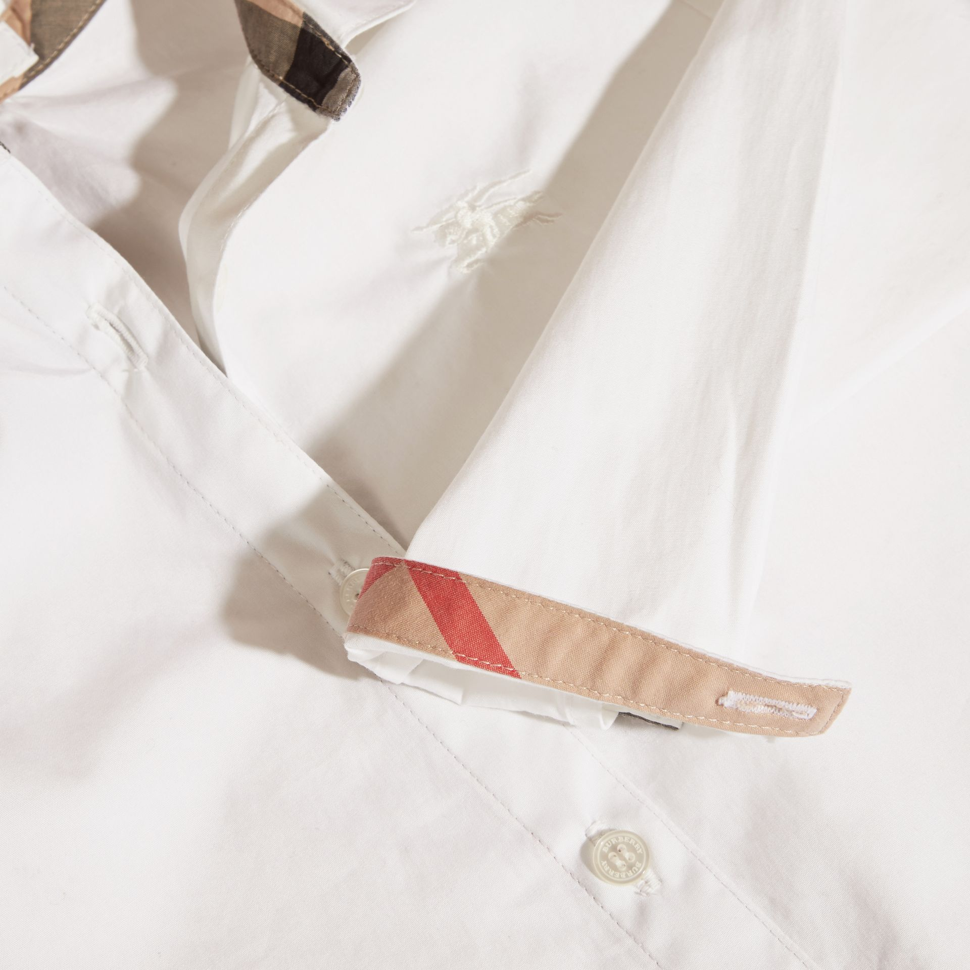 Peter Pan Collar Stretch Cotton Shirt in White - Girl | Burberry - gallery image 2