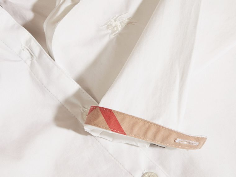 White Peter Pan Collar Stretch Cotton Shirt - cell image 1