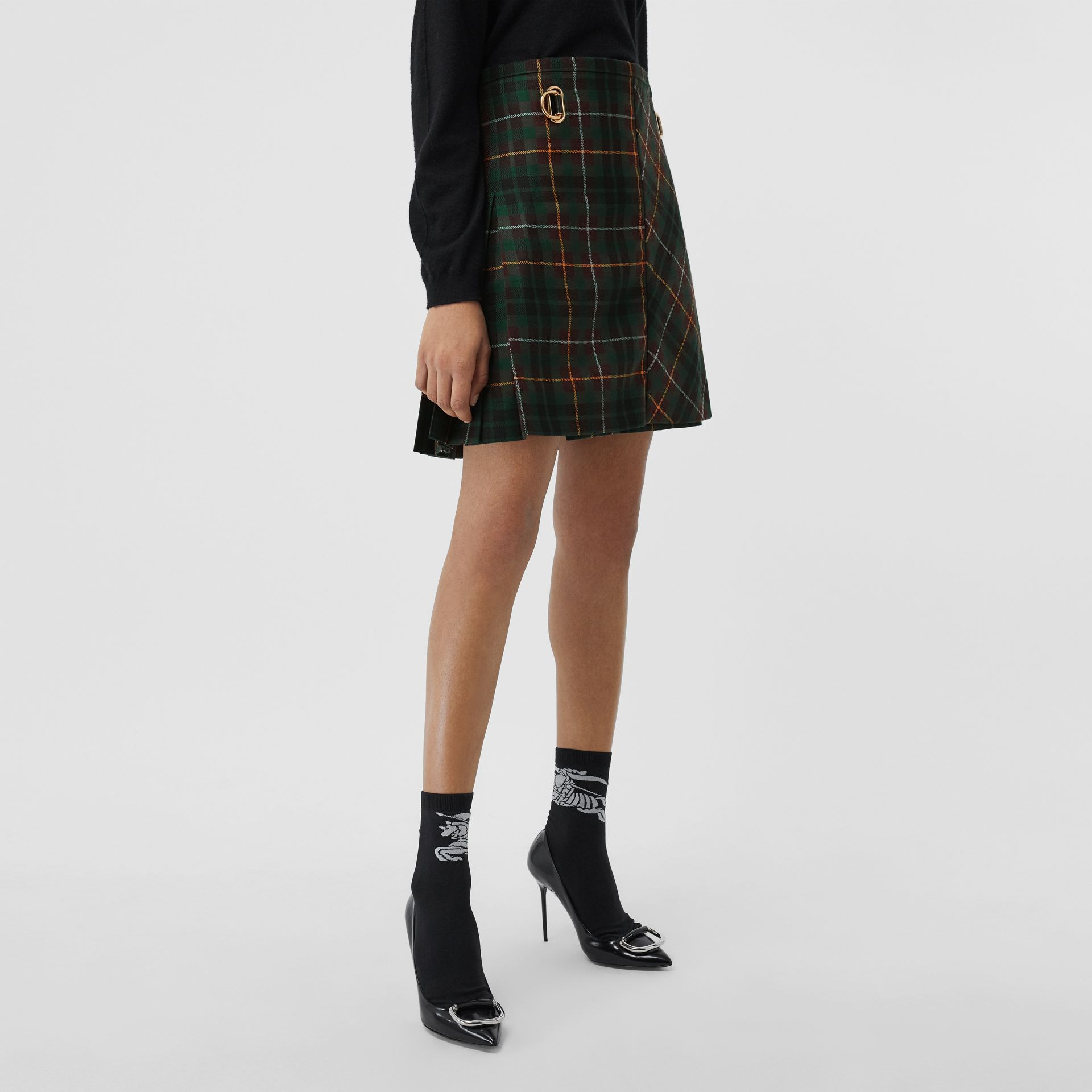 Tartan Wool Mini Kilt in Pine Green - Women | Burberry Canada - gallery image 5