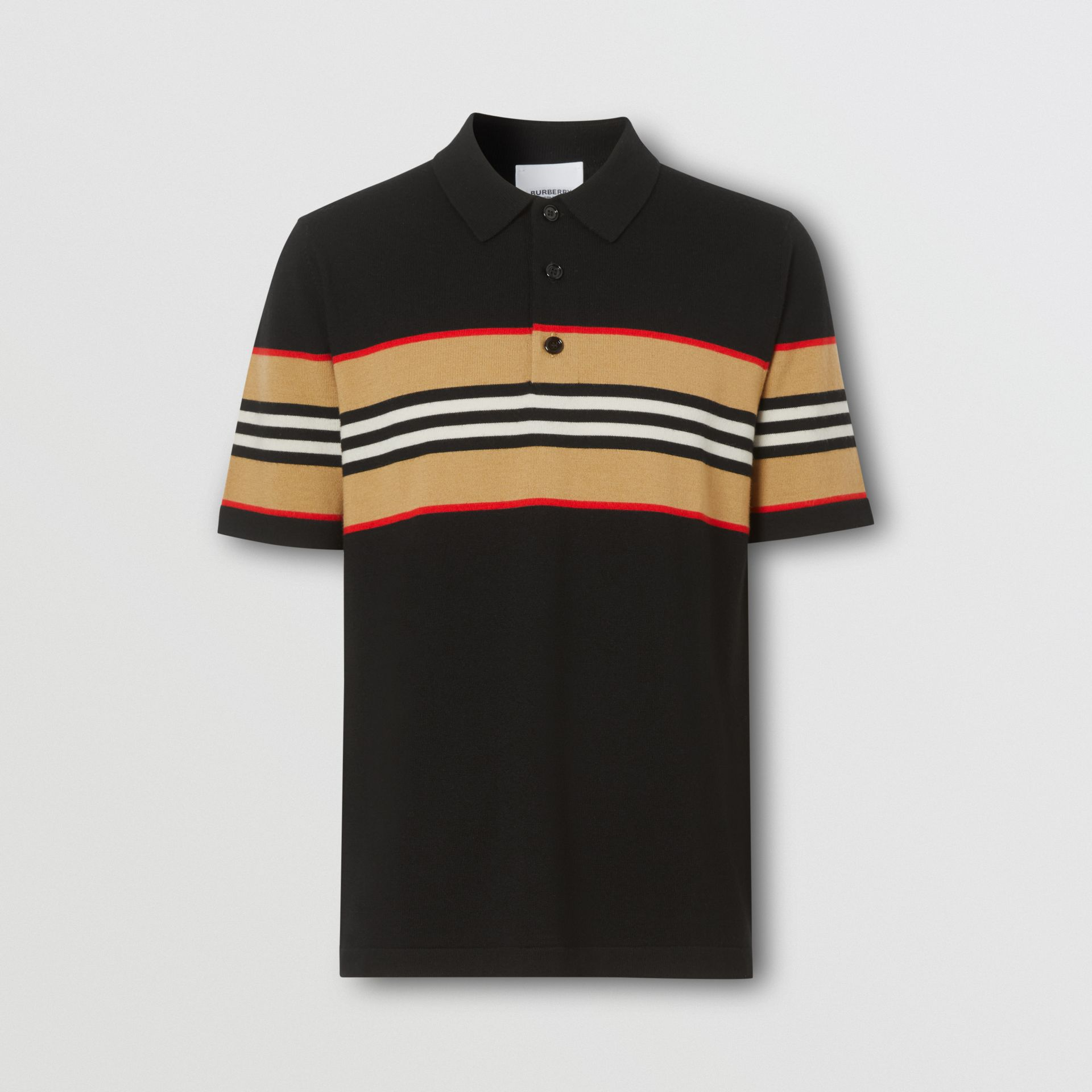 Icon Stripe Detail Merino Wool Polo Shirt in Black - Men | Burberry - gallery image 3