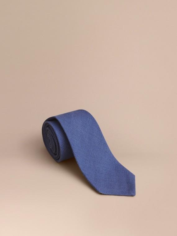 Corbata de pala moderna en lino (Azul Acero)