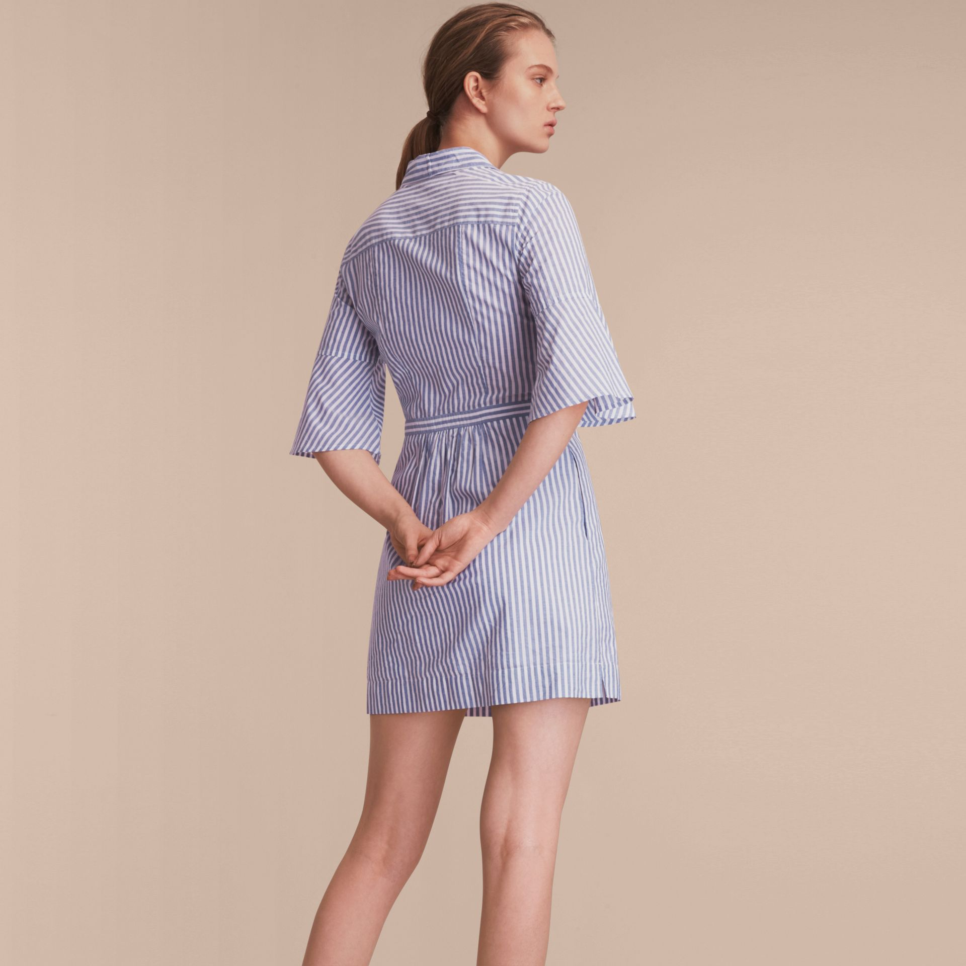 Bell-sleeve Striped Shirt Dress with Tie Neck in Pale Blue/white - Women | Burberry - gallery image 3