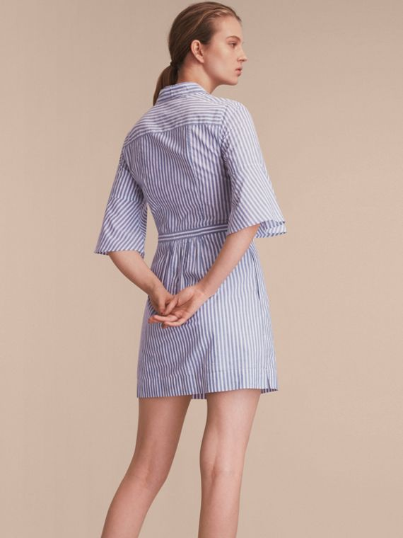 Bell-sleeve Striped Shirt Dress with Tie Neck in Pale Blue/white - Women | Burberry - cell image 2