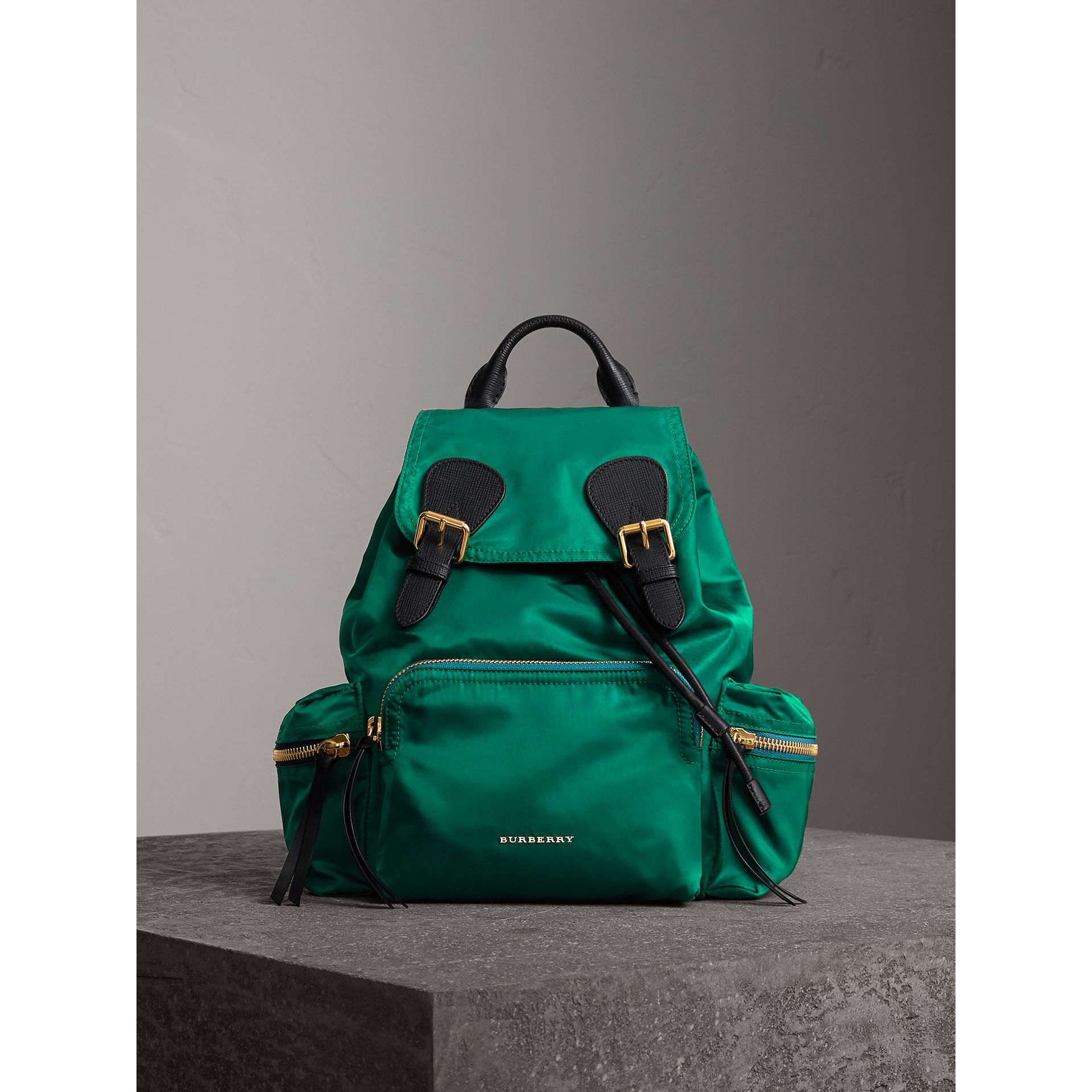 The Medium Rucksack in Technical Nylon and Leather in Pine Green - Women | Burberry - gallery image 2
