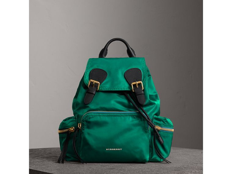 The Medium Rucksack in Technical Nylon and Leather in Pine Green - Women | Burberry - cell image 1