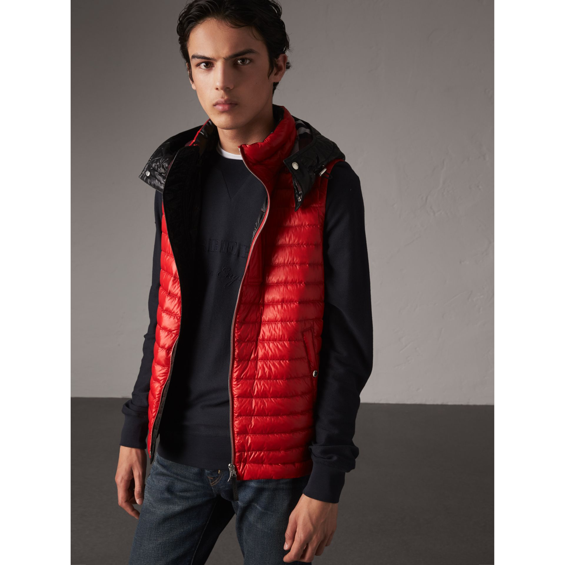 Detachable Hood Packaway Goose-down Gilet in Military Red - Men | Burberry - gallery image 6