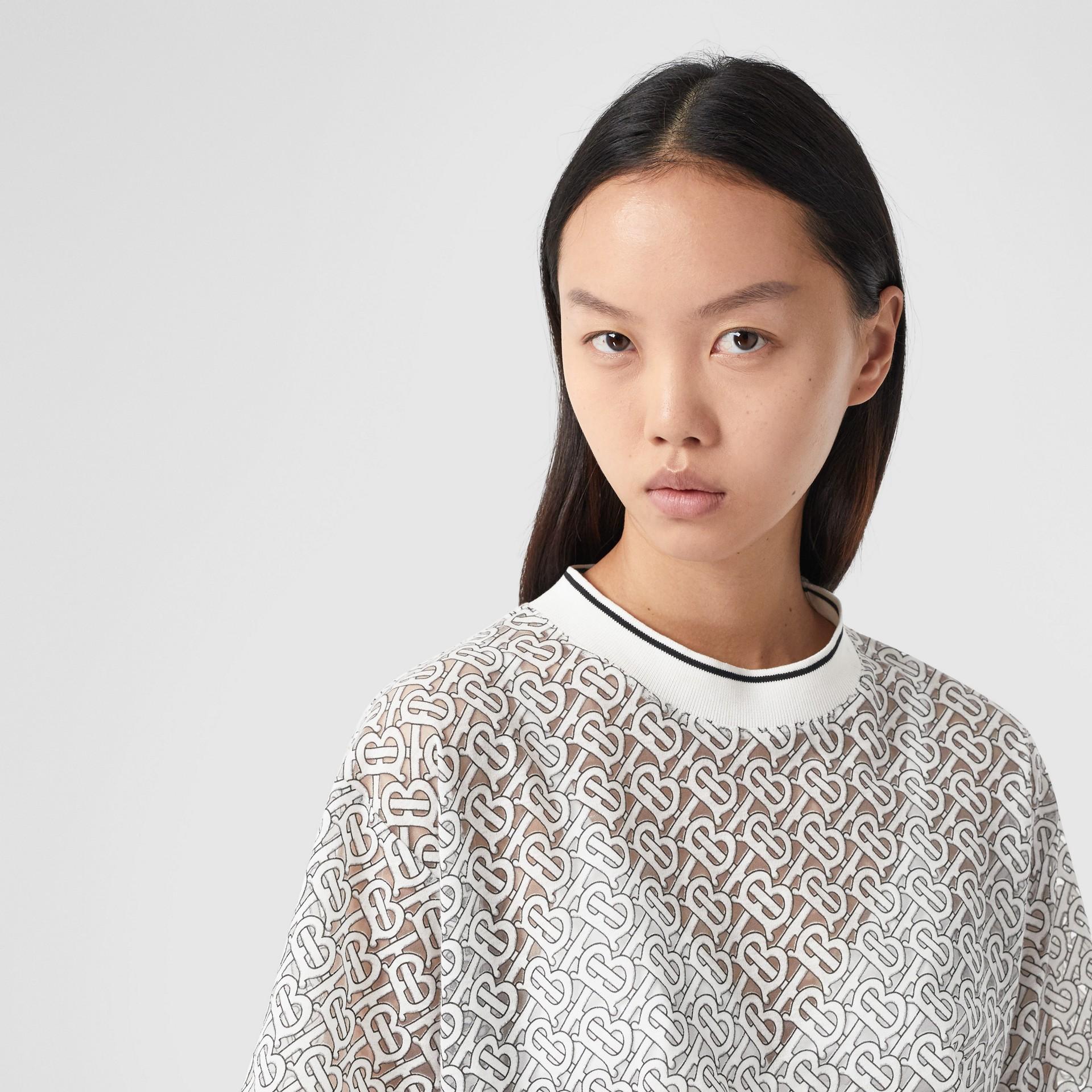 Monogram Devoré Oversized T-shirt in Off-white - Women   Burberry - gallery image 1