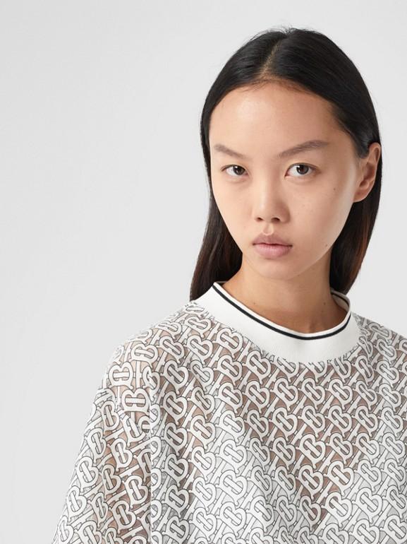 Monogram Devoré Oversized T-shirt in Off-white - Women   Burberry - cell image 1