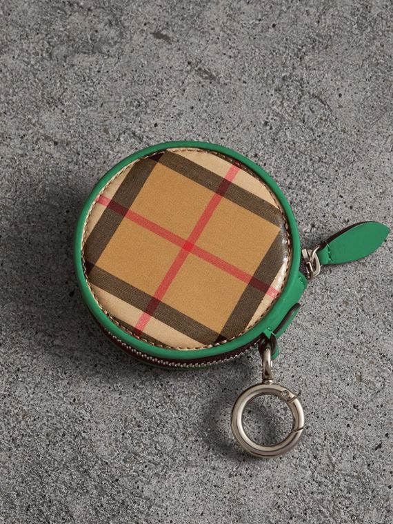 Coated Vintage Check Coin Case in Palm Green