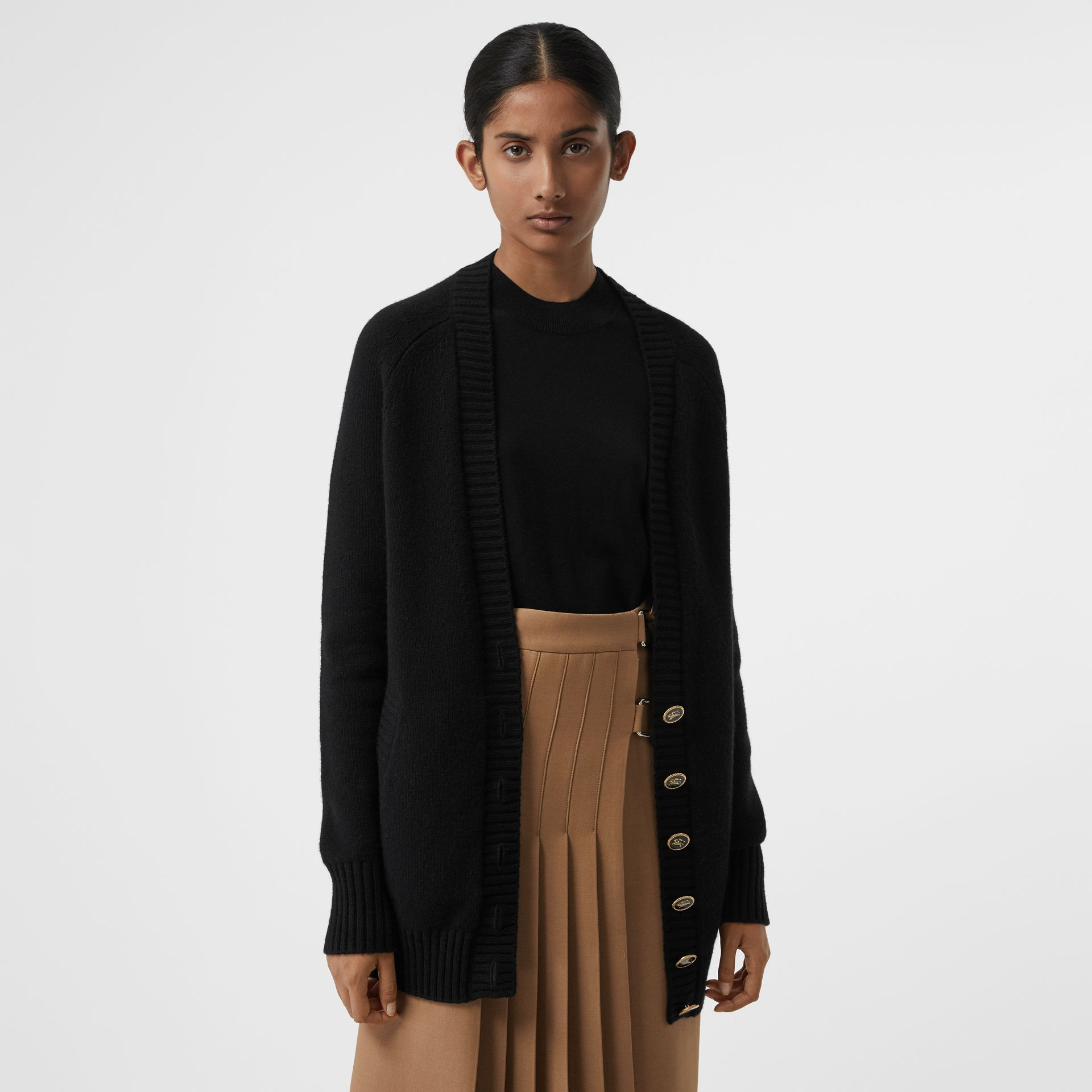 Logo Button Cashmere Cardigan in Black - Women | Burberry Singapore - gallery image 4