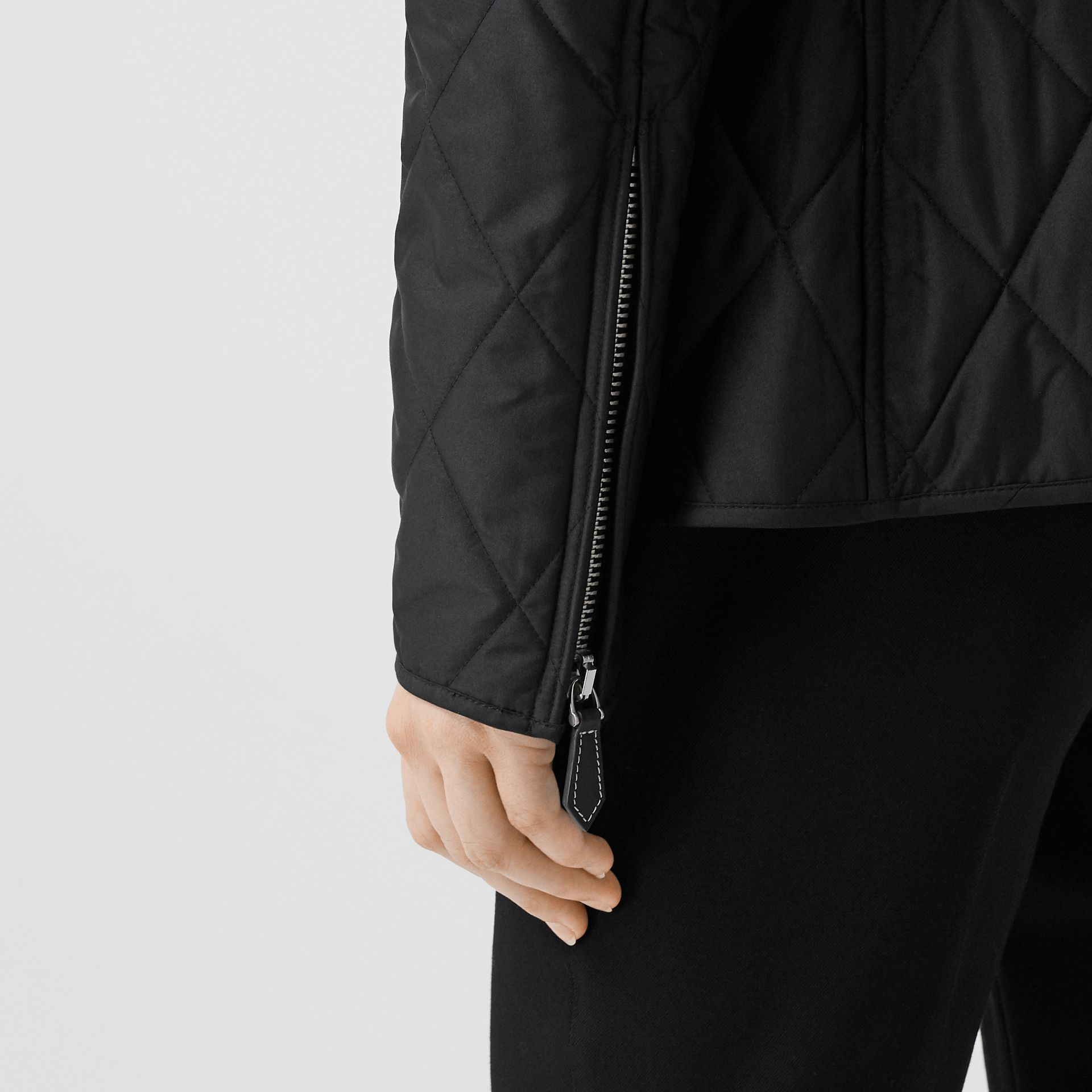 Monogram Motif Quilted Riding Jacket in Black - Women | Burberry - gallery image 4