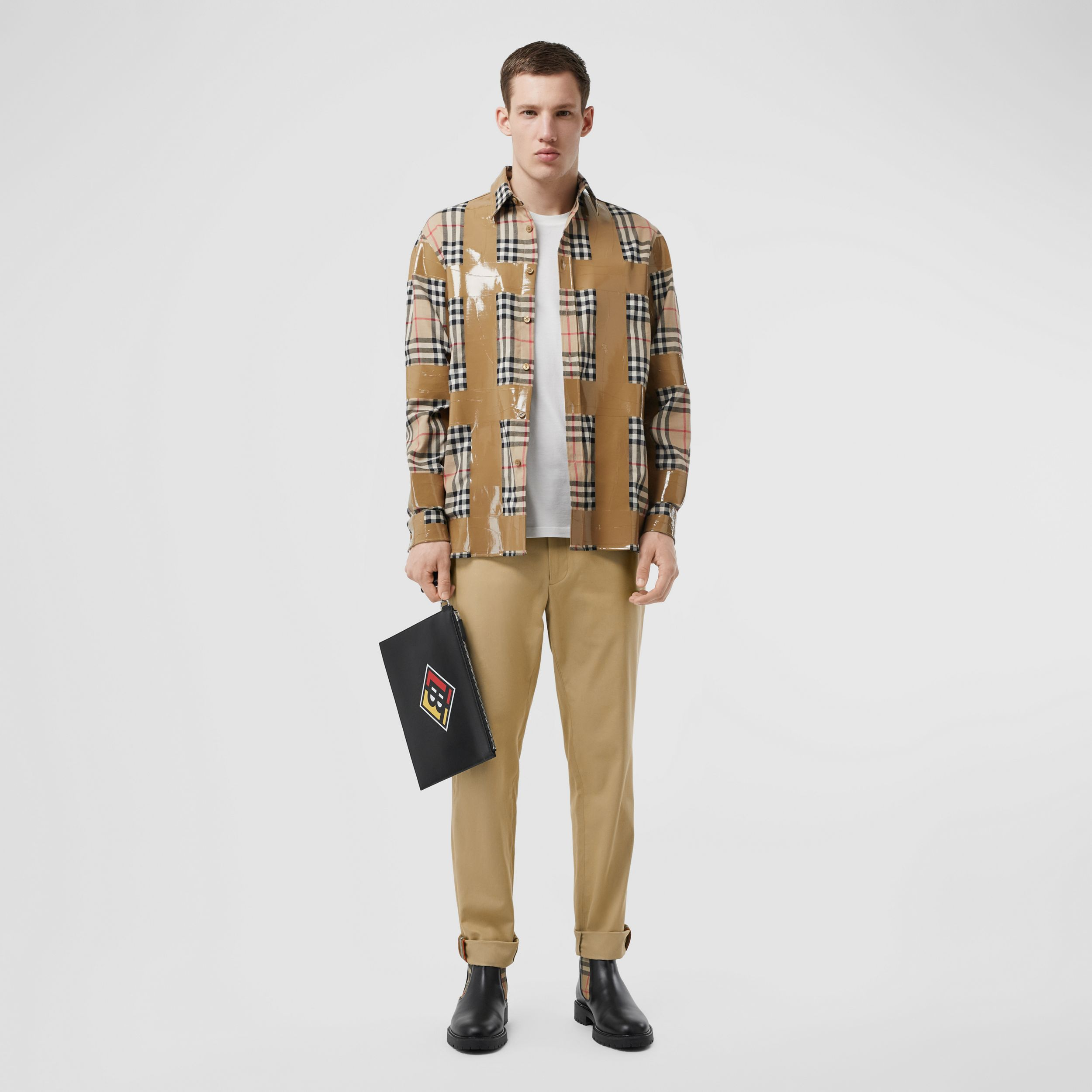 Slim Fit Cotton Chinos in Honey - Men | Burberry Canada - 1