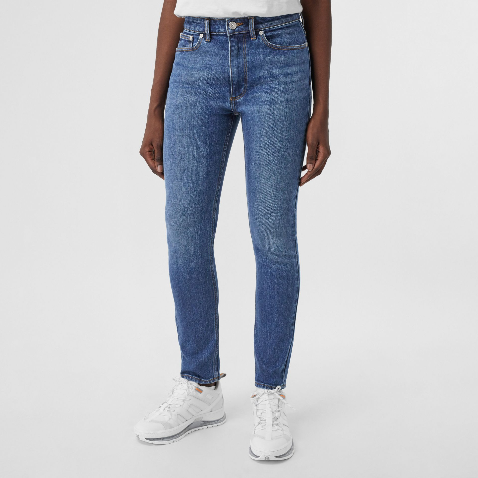Skinny Fit Japanese Denim Jeans in Indigo Blue - Women | Burberry - gallery image 4