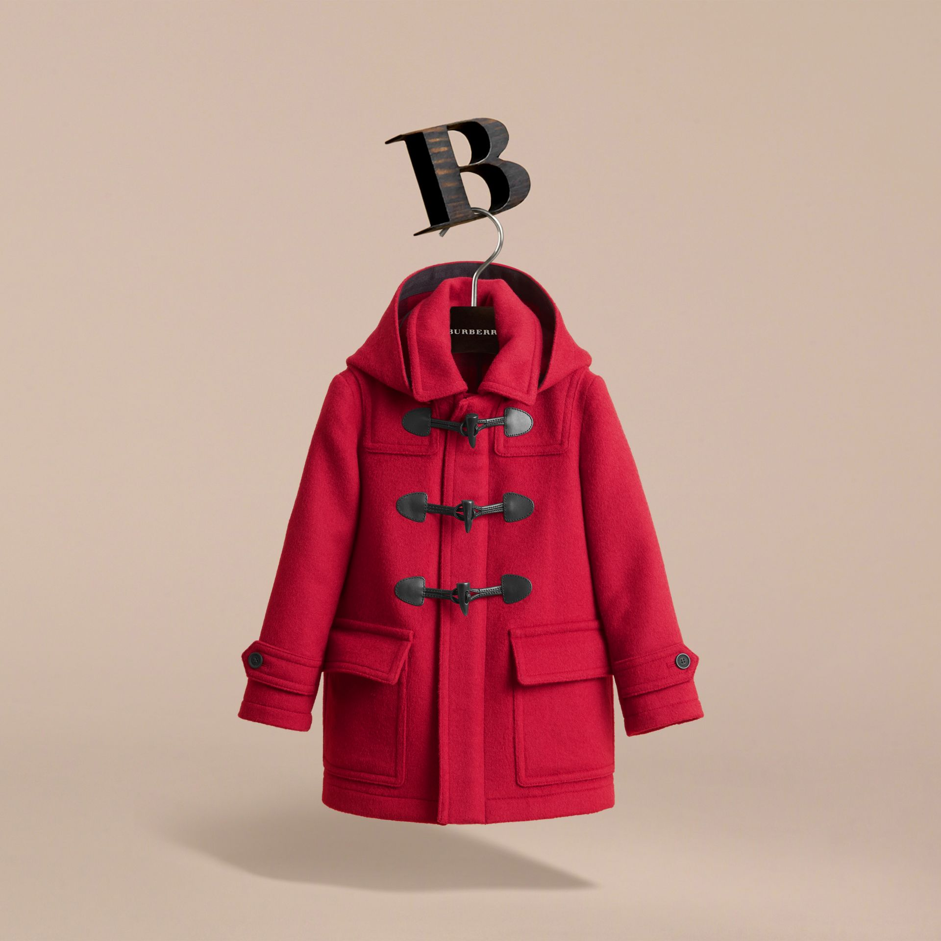 Hooded Wool Duffle Coat in Parade Red - Boy | Burberry Australia - gallery image 3