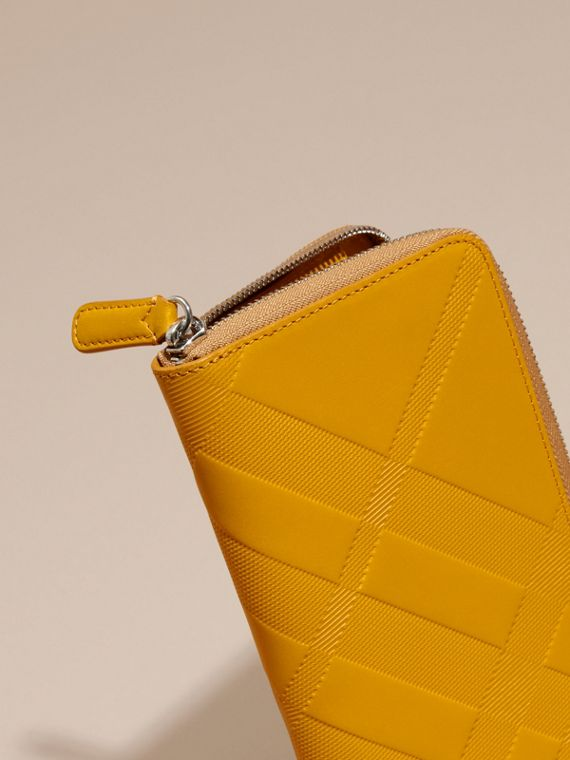 Amber yellow Check-embossed Leather Ziparound Wallet Amber Yellow - cell image 3
