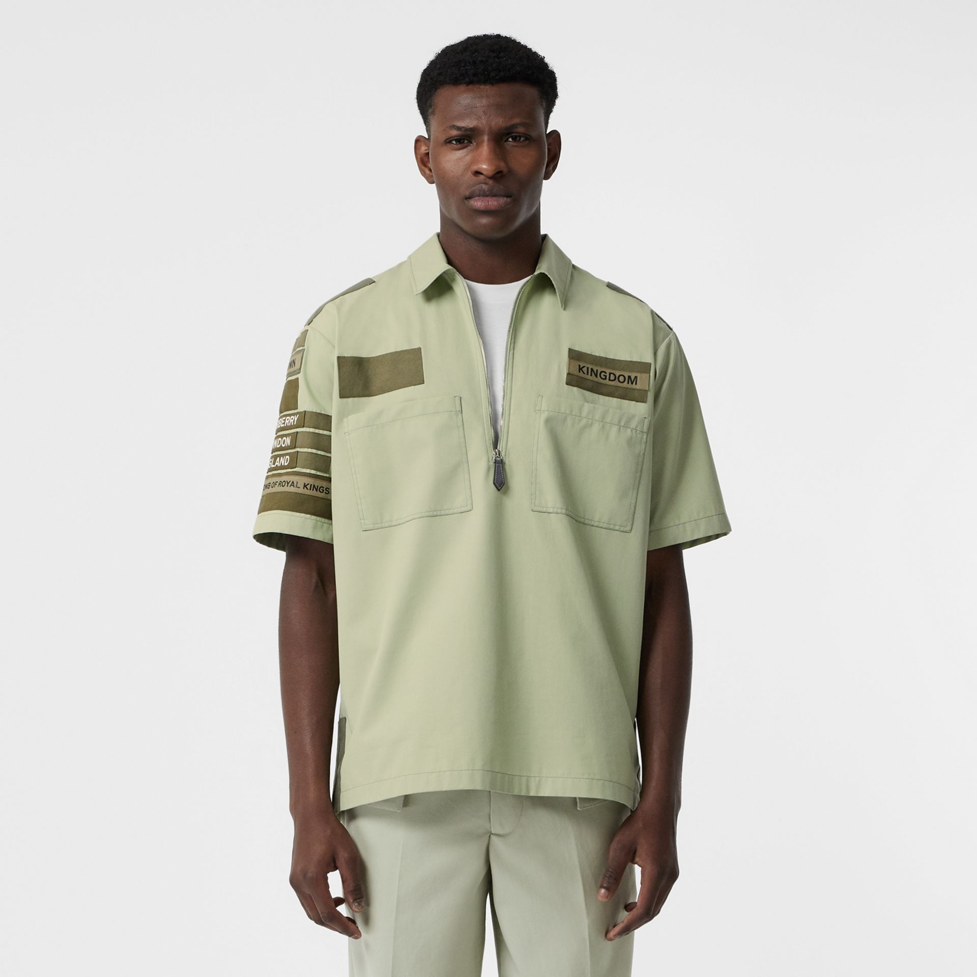 Short-sleeve Montage Print Military Cotton Shirt in Matcha | Burberry - gallery image 0