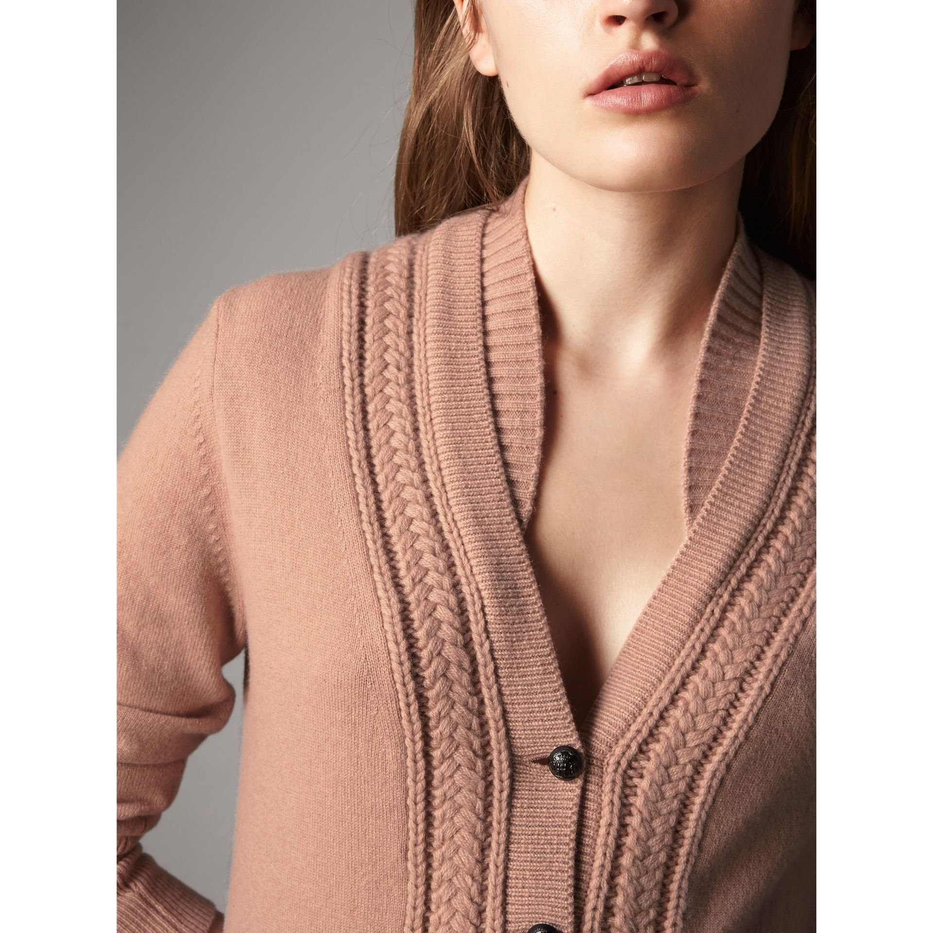 Cable Knit Detail Cashmere Cardigan in Apricot Pink - Women | Burberry - gallery image 2