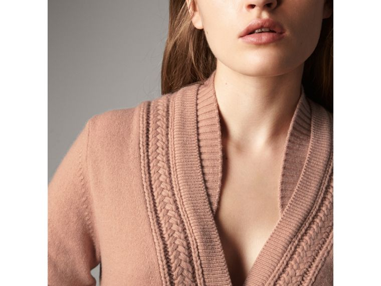 Cable Knit Detail Cashmere Cardigan in Apricot Pink - Women | Burberry - cell image 1