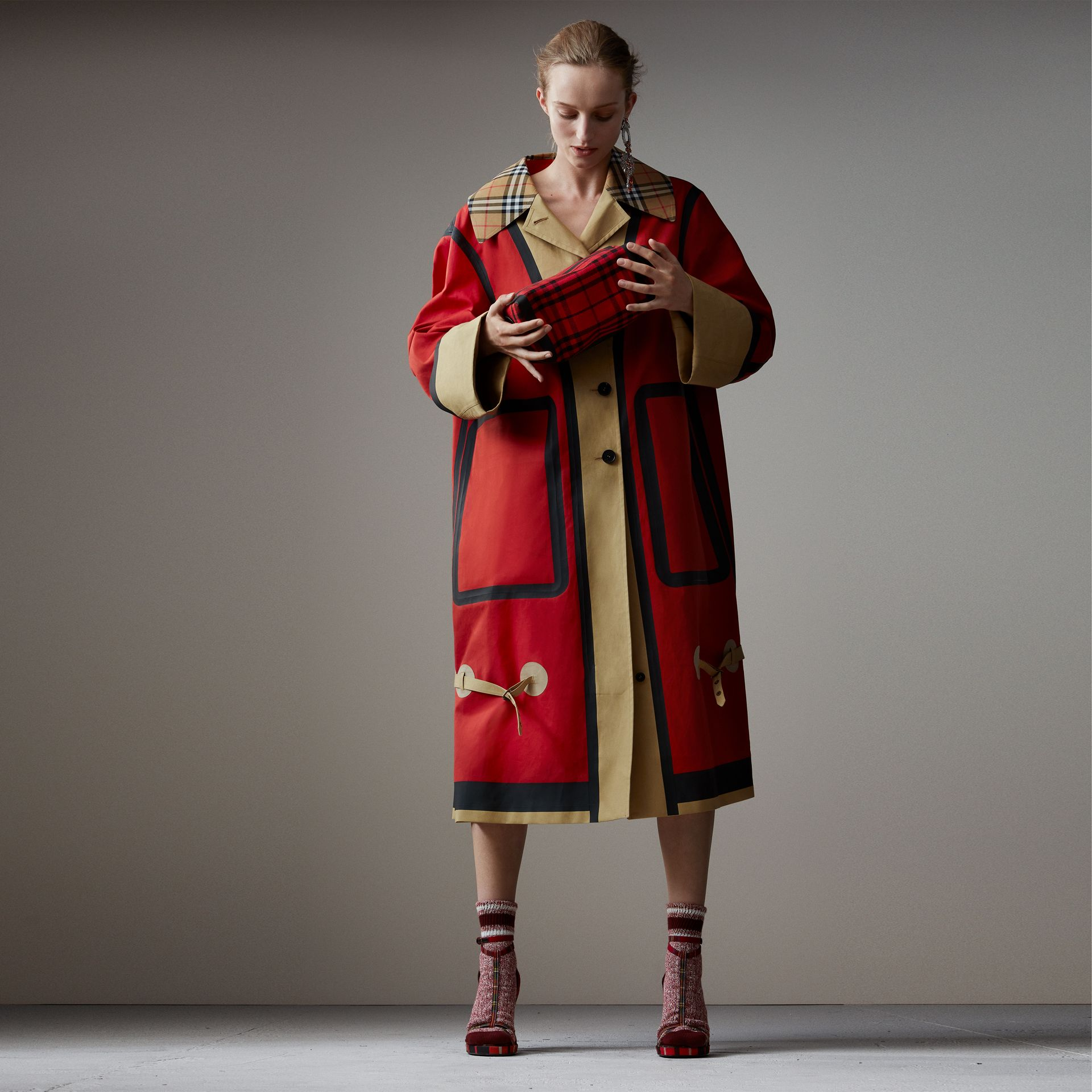 Bonded Cotton Oversized Seam-sealed Car Coat in Red/beige - Women | Burberry - gallery image 0