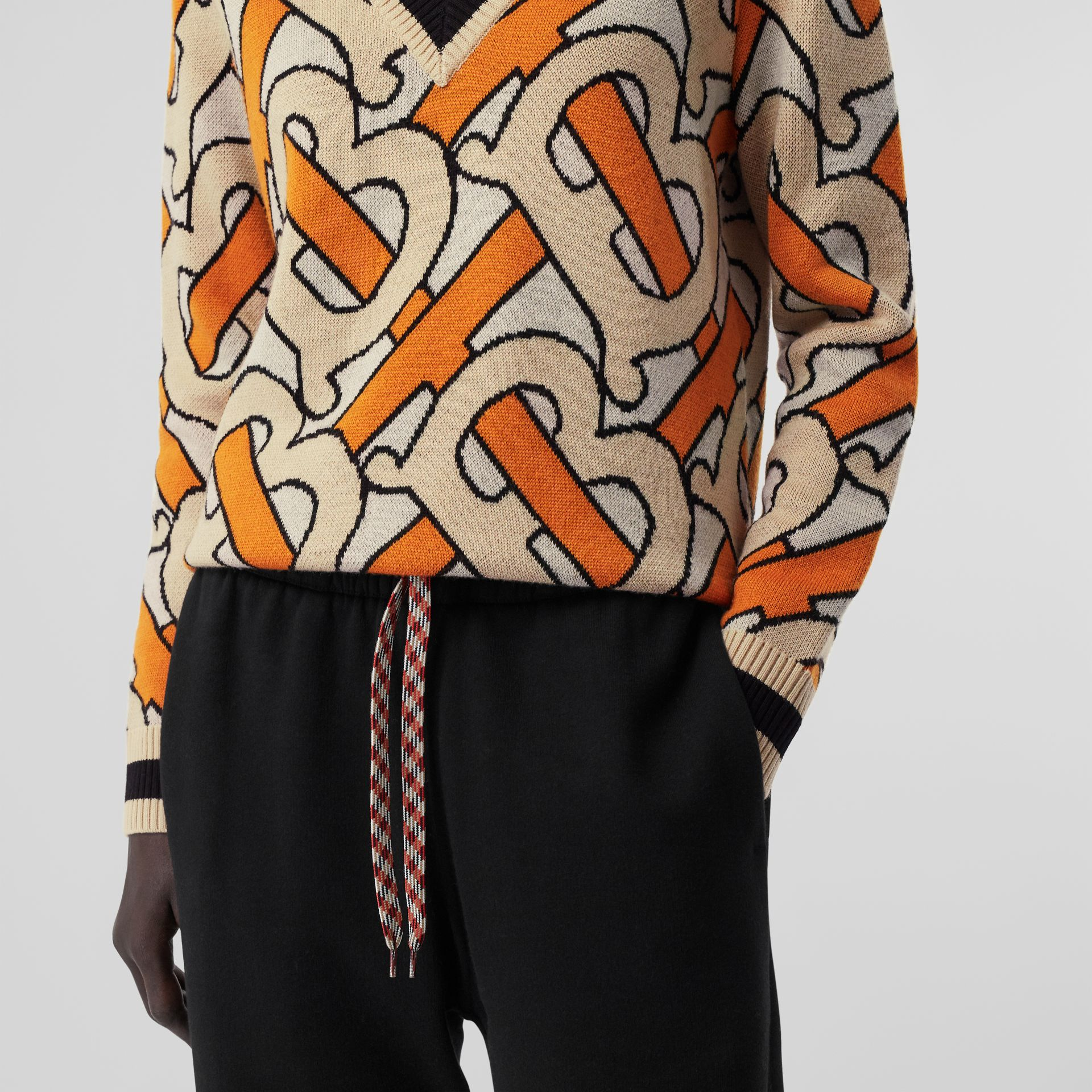 Monogram Intarsia Wool V-neck Sweater in Bright Orange - Women | Burberry United Kingdom - gallery image 4