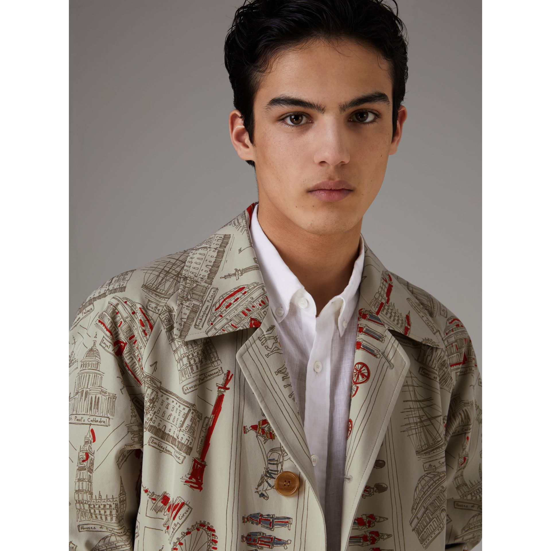 London Sketch Print Car Coat in Stone - Men | Burberry United Kingdom - gallery image 1