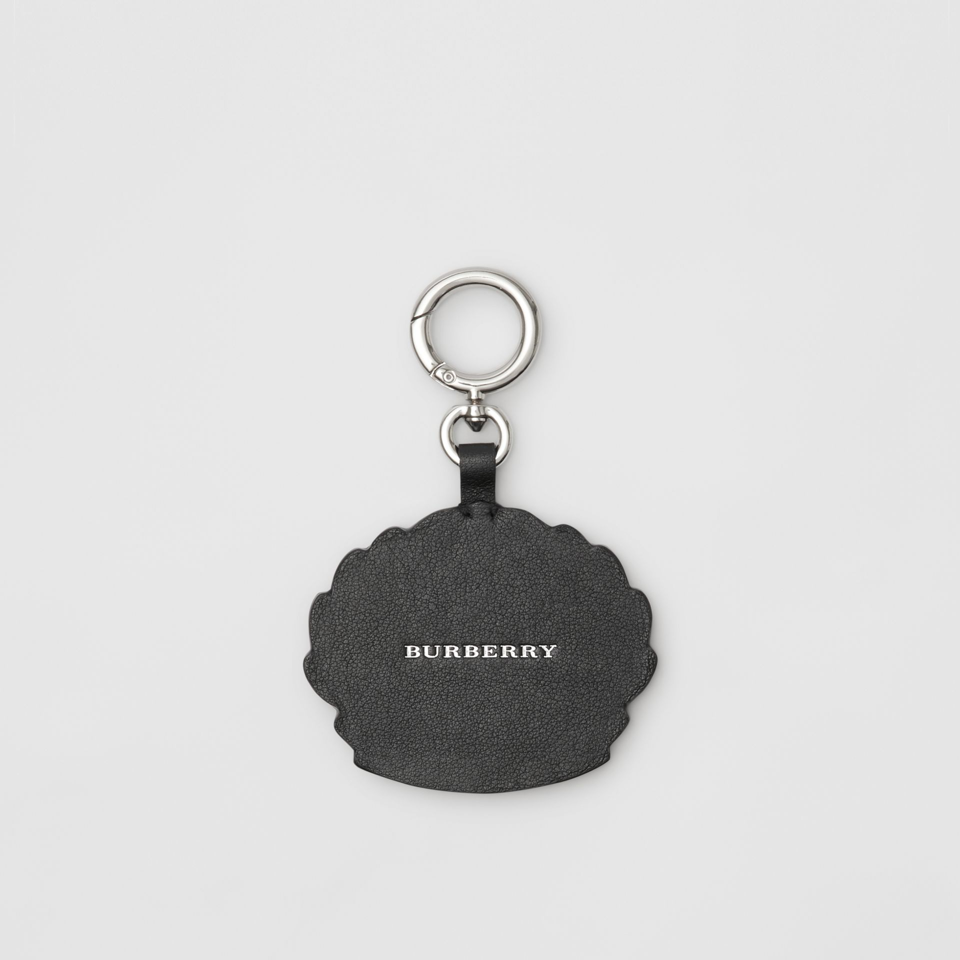 Crest Print Leather Key Charm in Black/white - Men | Burberry - gallery image 2