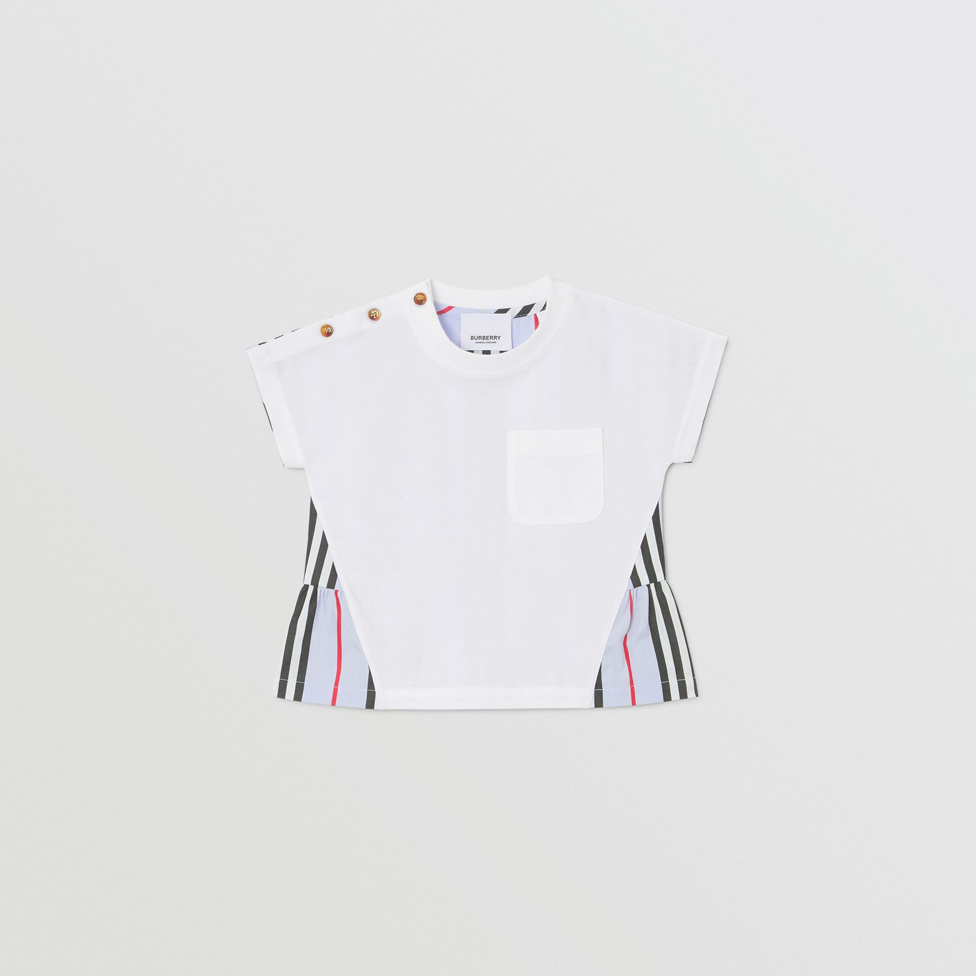 Icon Stripe Panel Cotton T-shirt in White/pale Blue - Children | Burberry - gallery image 0