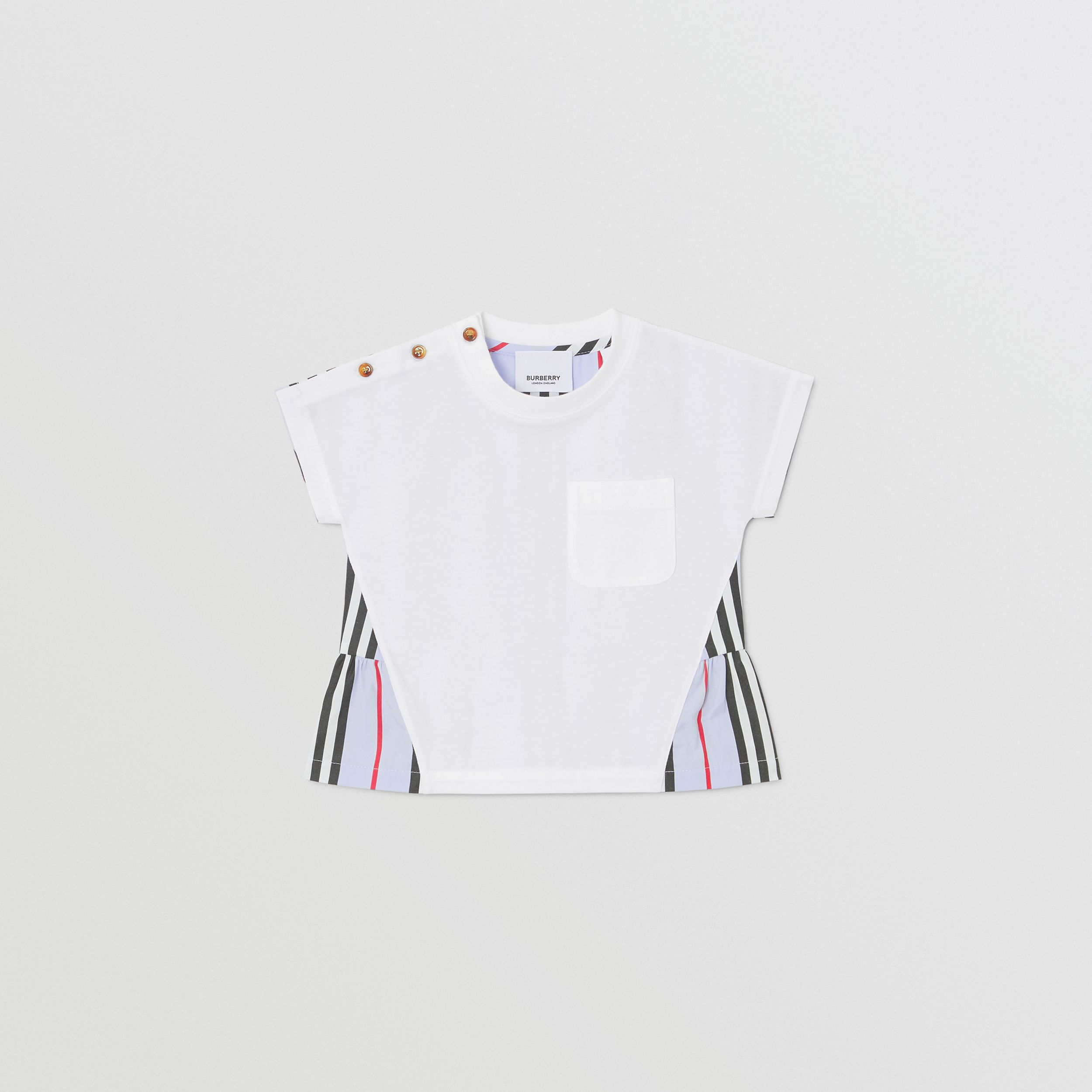 Icon Stripe Panel Cotton T-shirt in White/pale Blue - Children | Burberry - 1