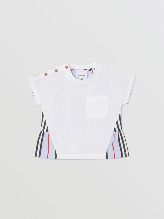 Icon Stripe Panel Cotton T-shirt in White/pale Blue